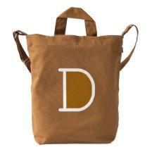 Custom Letter D Initial Monogram BAGGU Duck Bag Duck Canvas Bag