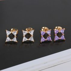 9.5mm 18K Gold Plated Fashion Small Square Inlaid Zircon Ladies Copper Earrings
