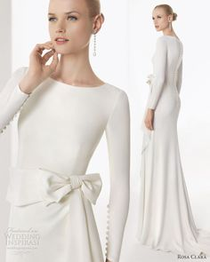 A long-sleeved wedding dress that doesn't hark of a certain Ms Kelly or a certain Ms Middleton are hard to come by but the chic and simple Rosa Clara Borgonya definitely fills the gap