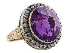Antique Victorian Amethyst and Diamond Ring in 14K #62978