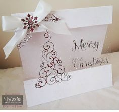 8x8 Tent card made using Sara Signature Contemporary Christmas Collection - Snowflake acetate - Stylish Tree - Luxury Ribbon - Seasonal Sentiment - Decorative Holly. Designed by Claire Murphy #crafterscompanion