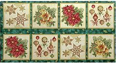 Robert Kaufman 'Holiday Flourish 7' Christmas Panels on Pine Cotton Fabric - http://www.specialdaysgift.com/robert-kaufman-holiday-flourish-7-christmas-panels-on-pine-cotton-fabric/