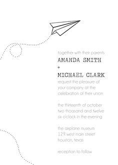 Paper airplane invitation