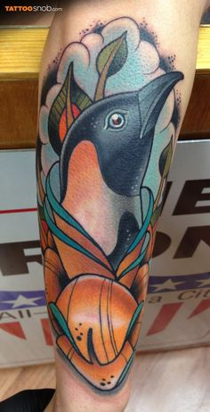 This is a pretty amazing tattoo! ~ Penguin tattoo by Dave Tevenal