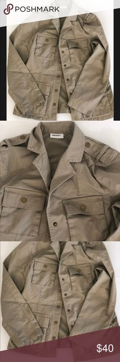 DKNY Military Style Cargo Jacket, sz small! DKNY Military Style Cargo Jacket, size small but could fit medium as well. Rarely worn and in great condition!  Button down to close and four pockets on the front. 98% cotton, 2% elastane. DKNYC Jackets & Coats Utility Jackets