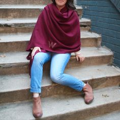 Wrap yourself up in this amazing blanket scarf fringed poncho! Also available in camel. Monogrammed too! Chunky Scarves, Fall Scarves, Fall Fashion Trends, Autumn Fashion, Gifts For My Girlfriend, Monogrammed Scarf, Bridesmaid Shirts, Birthday Gifts For Best Friend, Blanket Scarf