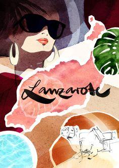 Lanzarote by Ekaterina Koroleva Robinson Crusoe, Storyboard, Vintage Posters, Vintage Art, Design Crafts, Design Art, Modern Portraits, Kunst Poster, Special Pictures