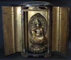 FENG SHUI Big EDO Japanese NYOIRIN Kannon Seated Zen Buddha Zushi Shrine Temple<br/>Other - 73466