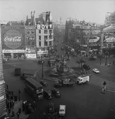 An elevated view of Piccadilly Circus 1950s | Museum of London. Did the modern day Piccadilly Circus March 2014!
