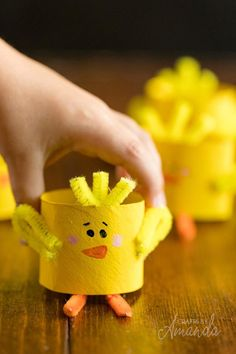 """""""These adorable cardboard tube chicks are an easy kid's craft tutorial for spring or Easter. All you need is a cardboard tube, paint and pipe cleaners. If you are planning any Easter crafts for… Farm Animal Crafts, Farm Crafts, Animal Crafts For Kids, Spring Crafts For Kids, Toddler Crafts, Kids Crafts, Kids Animals, Toilet Roll Craft, Toilet Paper Roll Crafts"""