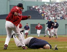 This was awful... but kinda funny! Adam got to sit by and talk with Don Zimmer (guy on the ground) at a Tampa Bay game!