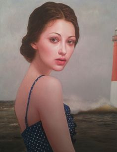 """Inlet"" - Kris Lewis, 2012, oil on canvas {contemporary figurative artist beautiful brunette female face portrait painting} <3"