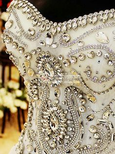 100% Tailor-Made Ball Gown Sweetheart Cathedral Train Lace Crystals And Rhinestones Bodice Wedding Dresses Free?Shipping?Price:?US 1129 -?VILAVI?Dresses