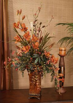 Cinnamon Orchids Artificial Floral Design with Natural Accents - Click Image to Close