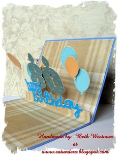birthday card with pop up floating balloons - bjl