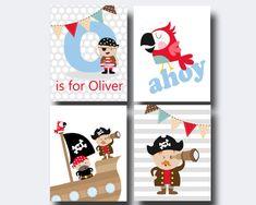 Pirate Nursery Baby Boy Monogram Wall Art Print, Pirate Nursery Wall Art Print, Baby Boy Nursery Wall Decor Print - N603,604,605,606