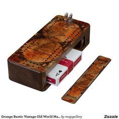 Grunge Rustic Vintage Old World Map Design Wood Cribbage Board