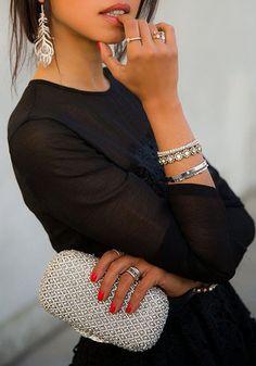 Illusion Neckline Lace Dress worn with silver jewelry