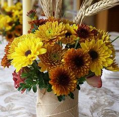 wedding flowers with wheat stalks | fall wedding flowers fall wedding centerpieces can be much more than ...