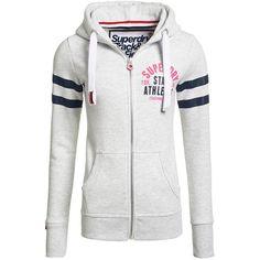 Superdry Track & Field Zip Hoodie (5,490 INR) ❤ liked on Polyvore featuring tops, hoodies, grey, women, zip hoodie, superdry hoodie, cotton hooded sweatshirt, cotton hoodies and zipper hoodies