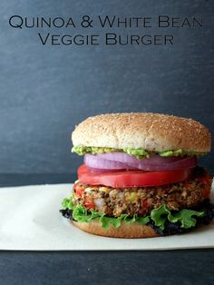 Quinoa & White Bean Veggie Burger...It's burger time! Healthy, delicious and so very filling....