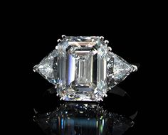 SAM  3.2ct Emerald cut diamond  2 x 1ct trillion cut diamonds  platinum ring  Ryder Diamonds, custom made diamond jewellery, Hong Kong