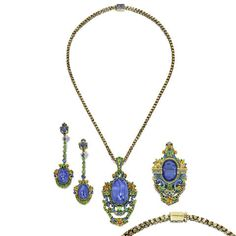 A sapphire, demantoid garnet and enamel suite, Attributed to Louis Comfort Tiffany, Tiffany & Co.,