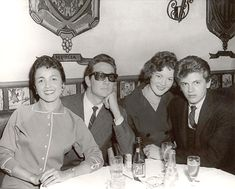 """cheapocheapo: """" Buddy Holly (with Maria Elena) & Phil Everly and his wife. """" I think that's a girlfriend as opposed to wife. AFAIK, Phil didn't get married until 1963 (to """"the boss's daughter""""–her dad. Music Love, Good Music, Smokey Joe's Cafe, Rock And Roll, Popular Music Artists, Holly Pictures, Ritchie Valens, American Bandstand, Rock Legends"""