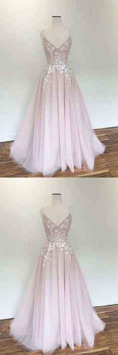 Light pink v neck tulle applique long prom dress, pink evening dress