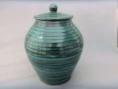 Turquoise Jar  Wheel Thrown Lidded Pottery Canister by MiriamsKiln, $175.00