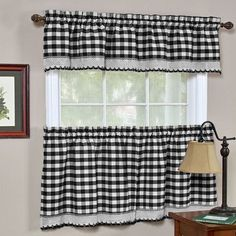 These classic Buffalo Check curtain Sets with Rod Pocket Headers will add a touch of charm to your windows. Each set includes: tailored valance, Tier Pair. Valance(Single): H x W. Gingham Curtains, Tier Curtains, Country Curtains, White Curtains, Farmhouse Curtains, Velvet Curtains, Patterned Curtains, Purple Curtains, French Curtains