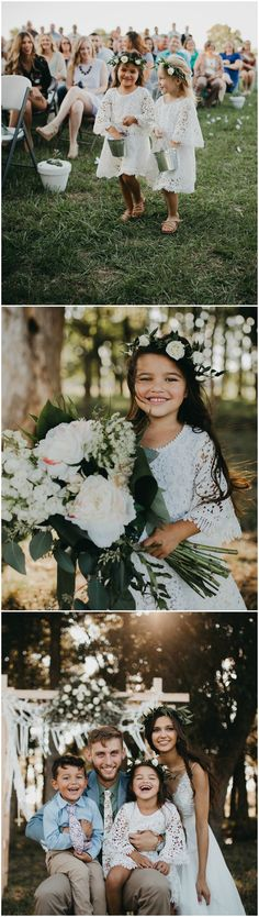 Boho wedding flower girls, white lace dresses, flower crowns, pin to your own inspiration board // Erynn Christine Photography #WeddingCrowns