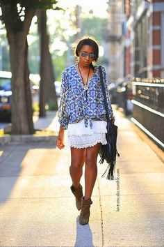 lace skirt, fringed bag and silk blouse