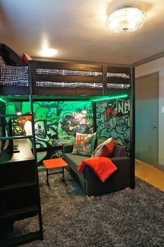 Loft Bed And Graffiti Walls Teenage Boy Industrial Loft