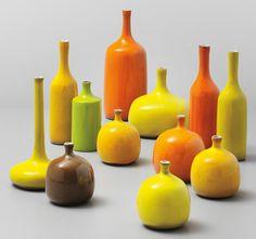 Twelve vases - Jacques and Dani Ruelland, 1960s.