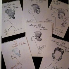 The famed hairdresser Alexandre of Paris made drawings of the hairstyles he did for the Duchess of Windsor.