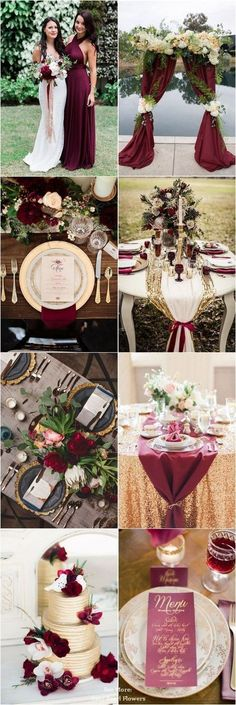 30 Elegant Fall Burgundy and Gold Wedding Ideas burgundy and gold fall wedding color ideas / www.deerpearlflow The post 30 Elegant Fall Burgundy and Gold Wedding Ideas appeared first on Hochzeit ideen. Fall Wedding Colors, Wedding Color Schemes, Wedding Flowers, Autumn Wedding, Spring Wedding, Wedding Color Palettes, Wedding Greenery, Colour Schemes, Wedding Bouquet