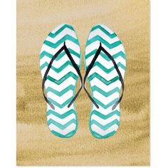Secretly Designed 'Flip Flop in Sand' Multi//Brown Art Print