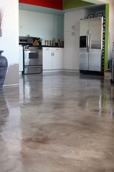 Kitchen Floor, overlay stains, concrete overlays