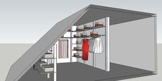Design a walk-in closet under a sloping roof. - Design a walk-in closet under a sloping roof.