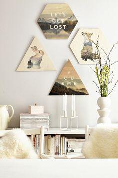 Wanddeko aus Holz wohnzimmer wandgestaltung druck auf holz