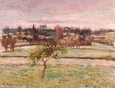 White Frost at Eragny, 1895 (oil on canv - Camille Pissarro as art print or hand painted oil. Van Gogh, Camille Pissarro Paintings, Couleur Rose Pale, Monet Water Lilies, Painting Prints, Art Prints, The Birth Of Venus, Contemporary Landscape, Claude Monet