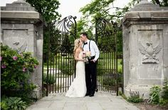 At the historic gates of Riverside Receptions and Conference Center, just outside Chicago | Joy Lyn Photography