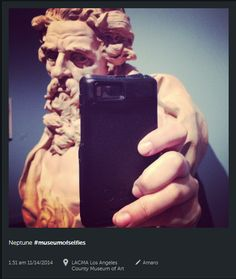 #museumsselfie, Martins museumsblog, november 2014. Neptun-selfie på Los Angeles Country Museum of Art. Foto: @freedomfart