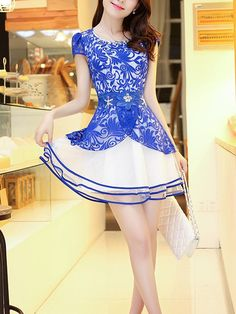 Round Neck Short Sleeve Lace Casual Dress