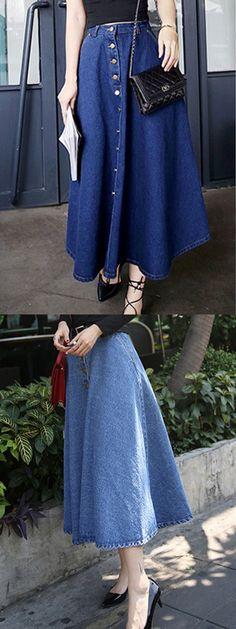 Dark Blue Button Up Pocket Denim Skater Skirt-CHOIES