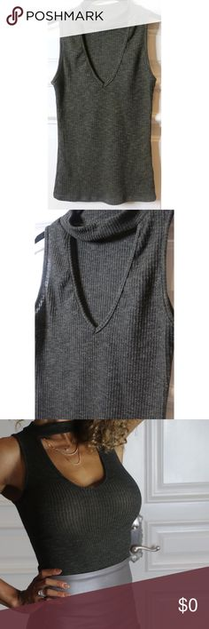 Olive Ribbed Choker Tee Just in from @nadege90210 head over to their page to purchase bebe Tops