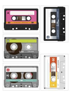 Free cassette tape printables for Project Life or paper crafting in general.