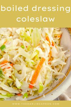 This Old Fashioned Coleslaw with Vinegar recipe will change the way you thought coleslaw could be made. Apple cider vinegar, sugar, oil, salt & pepper are first boiled then poured over cabbage, green pepper & onion. Serve this vinegar-based coleslaw as a side dish at your next potluck or picnic! #thedarlingapron #coleslaw #sidedish #summerrecipes