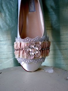 Ivory Wedding Flats -- Crystal shoes wide sizes available. $180.00, via Etsy.